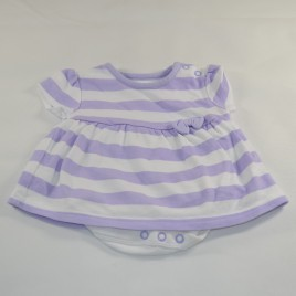 Purple & white striped newborn dress with built in bodysuit