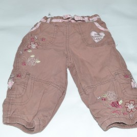 Brown trousers with flowers 6-9 months