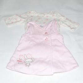 Pink small baby pinafore outfit