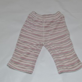 Pink & grey stripy trousers 6-9 months