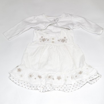 Tiny baby dress & cardigan outfit