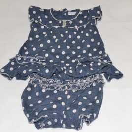 Next navy with white spots dress & pants outfit up to 1 month