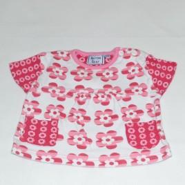 Pink & white flowered t-shirt 0-3 months