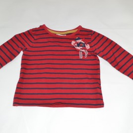 Debenhams red & blue striped with flower detail top 2-3 years