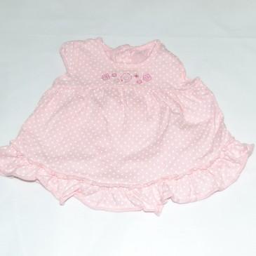 Pink & white spotty dress 0-3 months