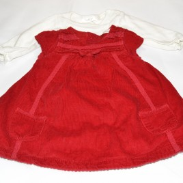 Next red pinafore & bodysuit 0-3 months
