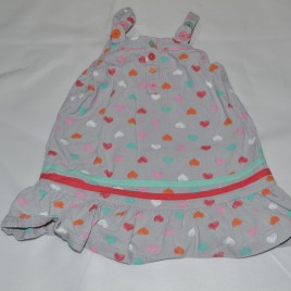 Grey hearts pinafore 9-12 months