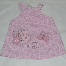 Pink & purple butterfly pinafore 0-3 months