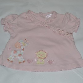 3-6 months pink t-shirt with lion & giraffe