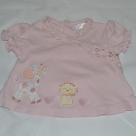 3-6 months pink t-shirt with lion & giraffe