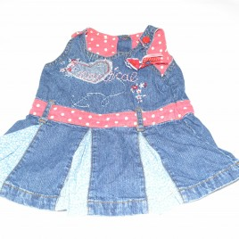 Denim dress with flowers & spots 3-6 months