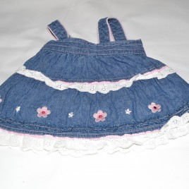 Denim pinafore with flowers 0-3 months