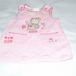 Pink bear pinafore 3-6 months