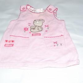 Pink bear pinafore 3-6 months