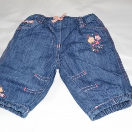 Denim jeans with flowers 0-3 months