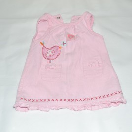 Newborn pink cord bird pinafore