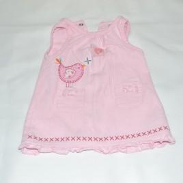 Newborn pink cord bird pinafore