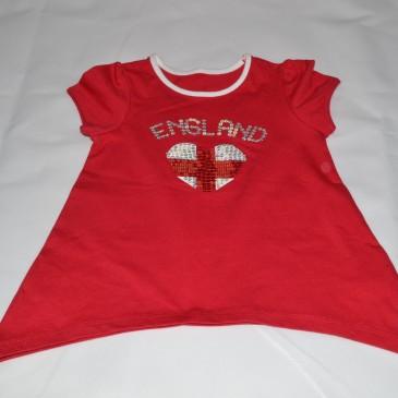 Red England t-shirt 12-18 months