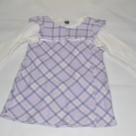 9-12 months lilac & white top & pinafore
