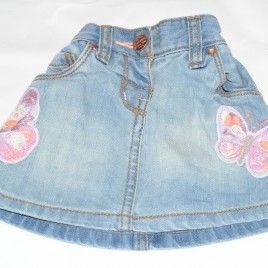 Next butterfly denim skirt 3-6 months