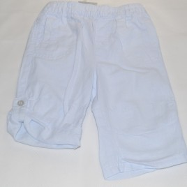 Next blue linen rolled leg trousers 3-6 months