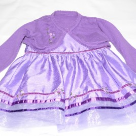 Purple party dress & cardigan 3-6 months