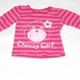 Pink stripy 'Cheeky Girl' top 9-12 months