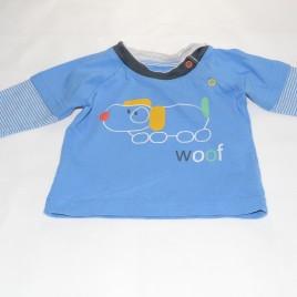 M&S blue dog 'Woof' Top 0-3 months