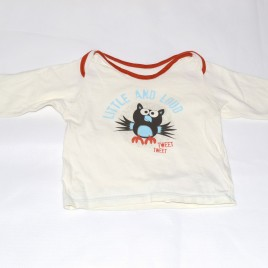 M & S owl cream 'Little and Loud' top 9-12 months