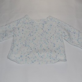 White speckled handmade jumper 0-6 months