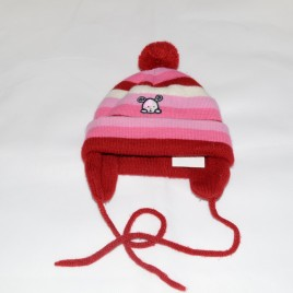 Red, pink & cream stripy hat 3-6 months