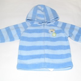 6-9 month blue stripy fleece hoodie