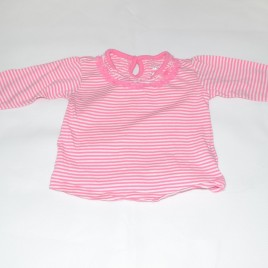 Pink & white stripy top 6-9 months