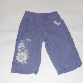 M&S purple flowered trousers 6-9 months