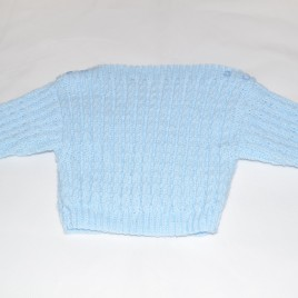 Blue hand knitted jumper 0-6 months