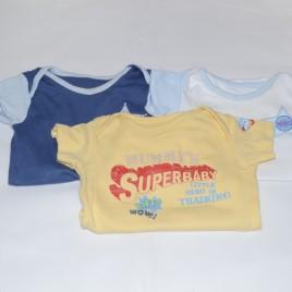 x3 bodysuits 'Superbaby' 6-9 months