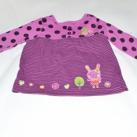 Purple stripy & spotty top 6-9 months
