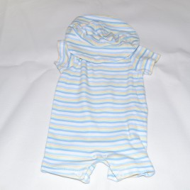 Blue stripy newborn romper & hat