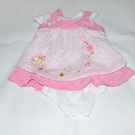 Pink spotty newborn dress & pants