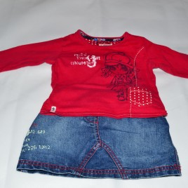 Next 9-12 months top & denim skirt outfit