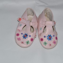 Pink t bar shoes 6-12 months