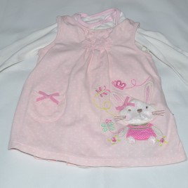 long sleeved bodysuit & pinafore 9-12 months