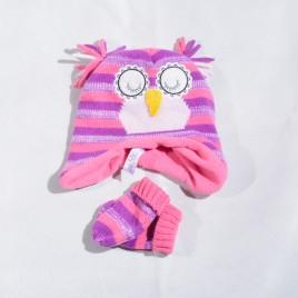 Owl hat & mittens 6-12 months
