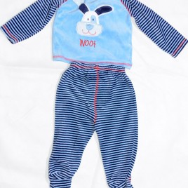 Blue stripy top & trousers outfit 6-9 months