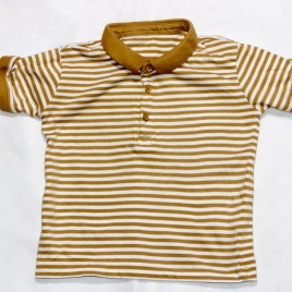 Brown & white stripy t-shirt 2-3 years