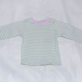 Jojo Maman Bebe green striped top 2-3 years