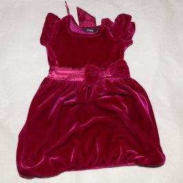 Burgundy velvet look dress 2-3 years