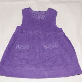 Handmade purple cord reversible pinafore dress 9-18 months
