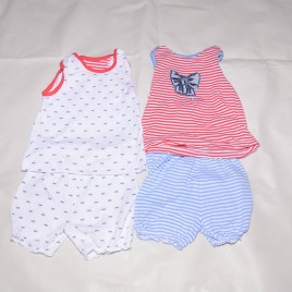 x2 pairs of shortie pj's 12-18 months