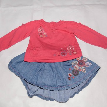 Pink top & skirt outfit 18-24 months